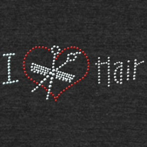 I Love Hair Rhinestone - Unisex Tri-Blend T-Shirt by American Apparel