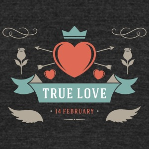 True Love 14 February Valentines Day - Unisex Tri-Blend T-Shirt by American Apparel