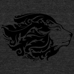 lion_with_long_ornament_hair_black - Unisex Tri-Blend T-Shirt by American Apparel