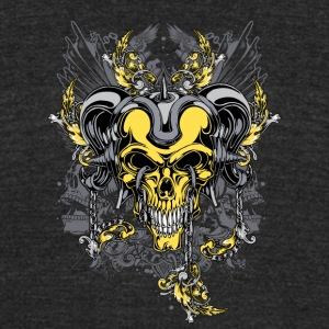 yellow demon skull - Unisex Tri-Blend T-Shirt by American Apparel