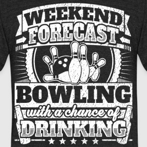 Weekend Forecast Bowling Drinking Tee - Unisex Tri-Blend T-Shirt by American Apparel