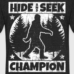 Funny Sasquatch Shirt: Hide and Seek Champion - Unisex Tri-Blend T-Shirt by American Apparel
