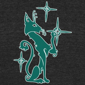 Dark_green_cat_playing_with_stars - Unisex Tri-Blend T-Shirt by American Apparel