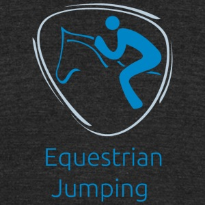 Equestrian_jumping_blue - Unisex Tri-Blend T-Shirt by American Apparel
