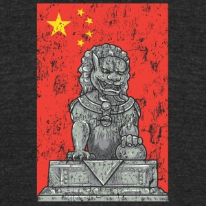 chinese flag and statue - Unisex Tri-Blend T-Shirt by American Apparel