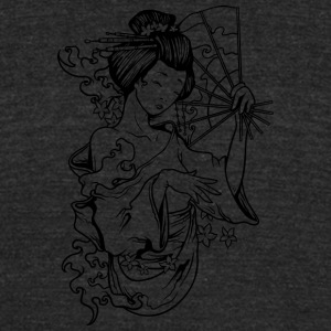 japanese_geisha_with_fan_black - Unisex Tri-Blend T-Shirt by American Apparel