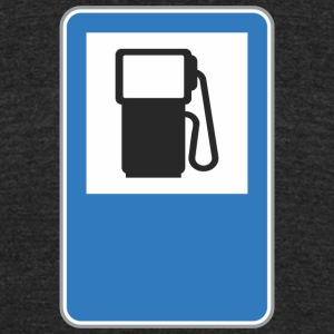 Road_sign_gas_station - Unisex Tri-Blend T-Shirt by American Apparel