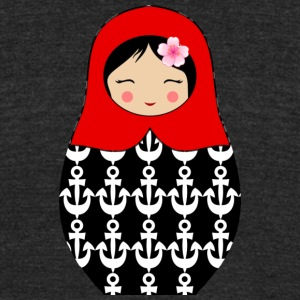 Red Matryoshka doll with anchors - Unisex Tri-Blend T-Shirt by American Apparel