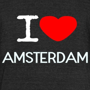 I LOVE AMSTERDAM - Unisex Tri-Blend T-Shirt by American Apparel