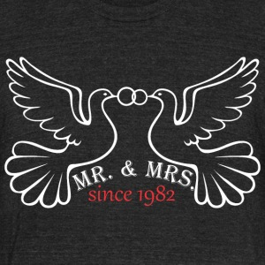 Mr And Mrs Since 1982 Married Marriage Engagement - Unisex Tri-Blend T-Shirt by American Apparel