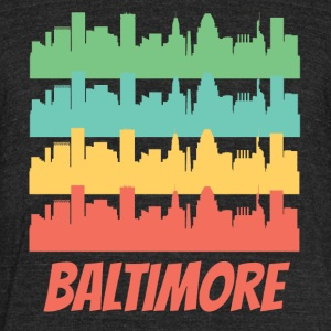 Retro Baltimore MD Skyline Pop Art - Unisex Tri-Blend T-Shirt by American Apparel