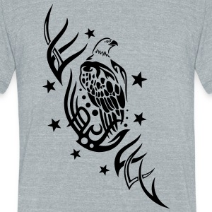 Eagle with tribal and stars. - Unisex Tri-Blend T-Shirt by American Apparel