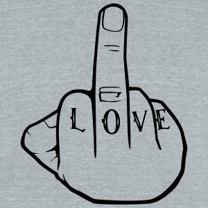 Fuck Love - Middlefinger - Fuck you - Unisex Tri-Blend T-Shirt by American Apparel
