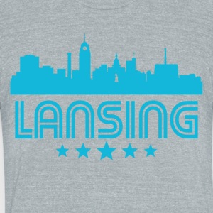 Retro Lansing Skyline - Unisex Tri-Blend T-Shirt by American Apparel