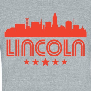 Retro Lincoln Skyline - Unisex Tri-Blend T-Shirt by American Apparel