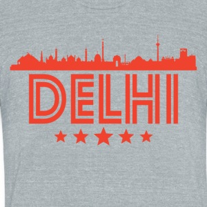 Retro Delhi Skyline - Unisex Tri-Blend T-Shirt by American Apparel