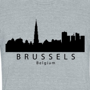 Brussels Belgium Skyline - Unisex Tri-Blend T-Shirt by American Apparel