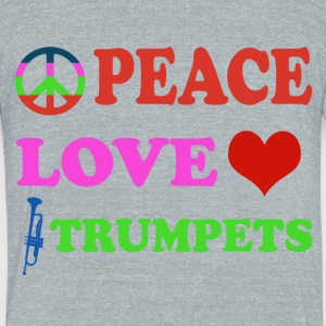 Peace love Trumpets - Unisex Tri-Blend T-Shirt by American Apparel