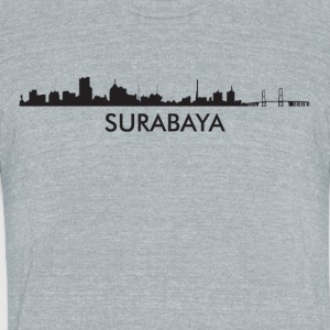 Surabaya Indonesia Skyline - Unisex Tri-Blend T-Shirt by American Apparel