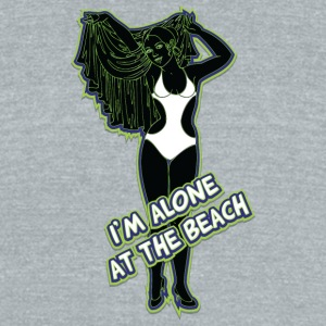 I_am_alone_at_the_beach_black_green - Unisex Tri-Blend T-Shirt by American Apparel