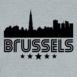 Retro Brussels Skyline - Unisex Tri-Blend T-Shirt by American Apparel