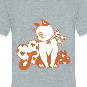 Valentine Cat with Hearts - Unisex Tri-Blend T-Shirt by American Apparel