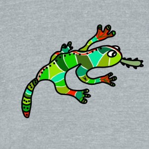 Nice gecko lizard ethno green red exotic tropical - Unisex Tri-Blend T-Shirt by American Apparel