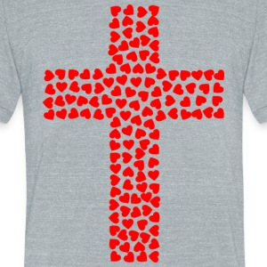 Cross with hearts - Unisex Tri-Blend T-Shirt by American Apparel