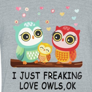 Owl Love T Shirt - Unisex Tri-Blend T-Shirt by American Apparel