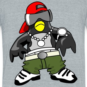 Gangster penguin - Unisex Tri-Blend T-Shirt by American Apparel