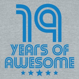 19 Years Of Awesome 19th Birthday - Unisex Tri-Blend T-Shirt by American Apparel