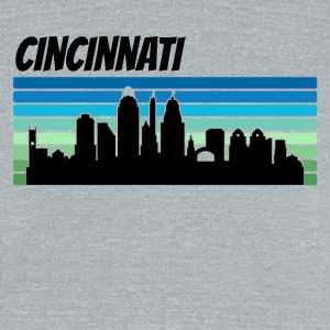 Retro Cincinnati Skyline - Unisex Tri-Blend T-Shirt by American Apparel