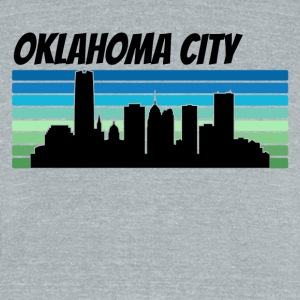 Retro Oklahoma City Skyline - Unisex Tri-Blend T-Shirt by American Apparel
