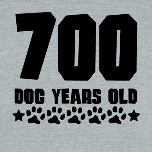 700 Dog Years Old Funny 100th Birthday - Unisex Tri-Blend T-Shirt by American Apparel