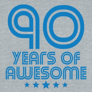 90 Years Of Awesome 90th Birthday - Unisex Tri-Blend T-Shirt by American Apparel