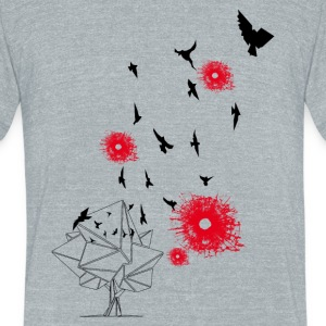 bird's and bullets - Unisex Tri-Blend T-Shirt by American Apparel