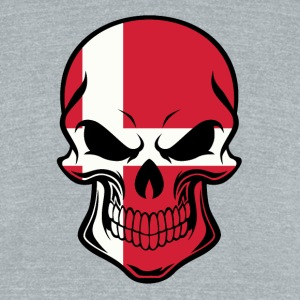 Danish Flag Skull - Unisex Tri-Blend T-Shirt by American Apparel