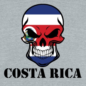 Costa Rican Flag Skull Costa Rica - Unisex Tri-Blend T-Shirt by American Apparel