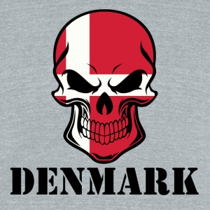Danish Flag Skull Denmark - Unisex Tri-Blend T-Shirt by American Apparel