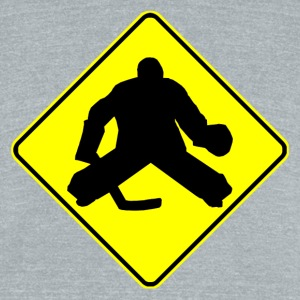 Hockey Goalie Crossing Sign - Unisex Tri-Blend T-Shirt by American Apparel