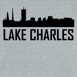 Lake Charles Louisiana City Skyline - Unisex Tri-Blend T-Shirt by American Apparel