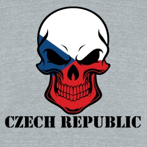Czech Flag Skull Czech Republic - Unisex Tri-Blend T-Shirt by American Apparel