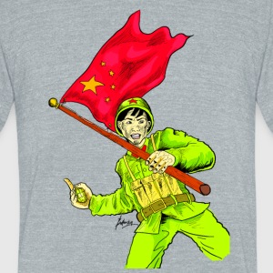 Chinese Soldier With Grenade - Unisex Tri-Blend T-Shirt by American Apparel