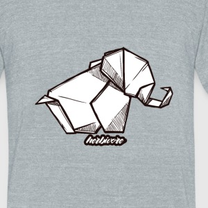 Herbivore Elephant Origami Design - Unisex Tri-Blend T-Shirt by American Apparel