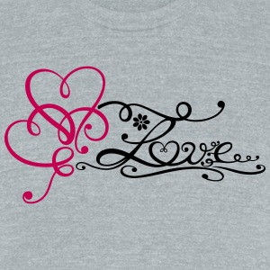 Two big hearts with lettering and flower. - Unisex Tri-Blend T-Shirt by American Apparel