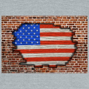 23168837-American-flag-on-old-brick-wall-Texture-o - Unisex Tri-Blend T-Shirt by American Apparel