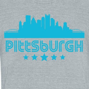 Retro Pittsburgh Skyline - Unisex Tri-Blend T-Shirt by American Apparel