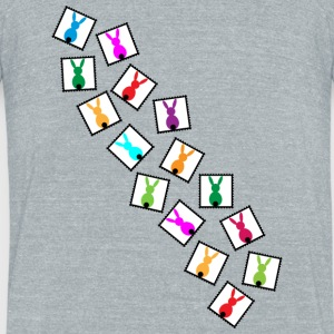 little stamps with easter bunnies / easter rabbits - Unisex Tri-Blend T-Shirt by American Apparel