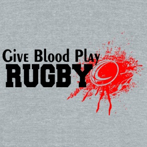 Rugby - Give Blood Play Rugby - Unisex Tri-Blend T-Shirt by American Apparel