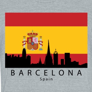 Barcelona Spain Skyline Spanish Flag - Unisex Tri-Blend T-Shirt by American Apparel